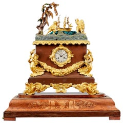 Mid 19th Century Louis Philippe Ships Automaton Clock under a Glass Dome