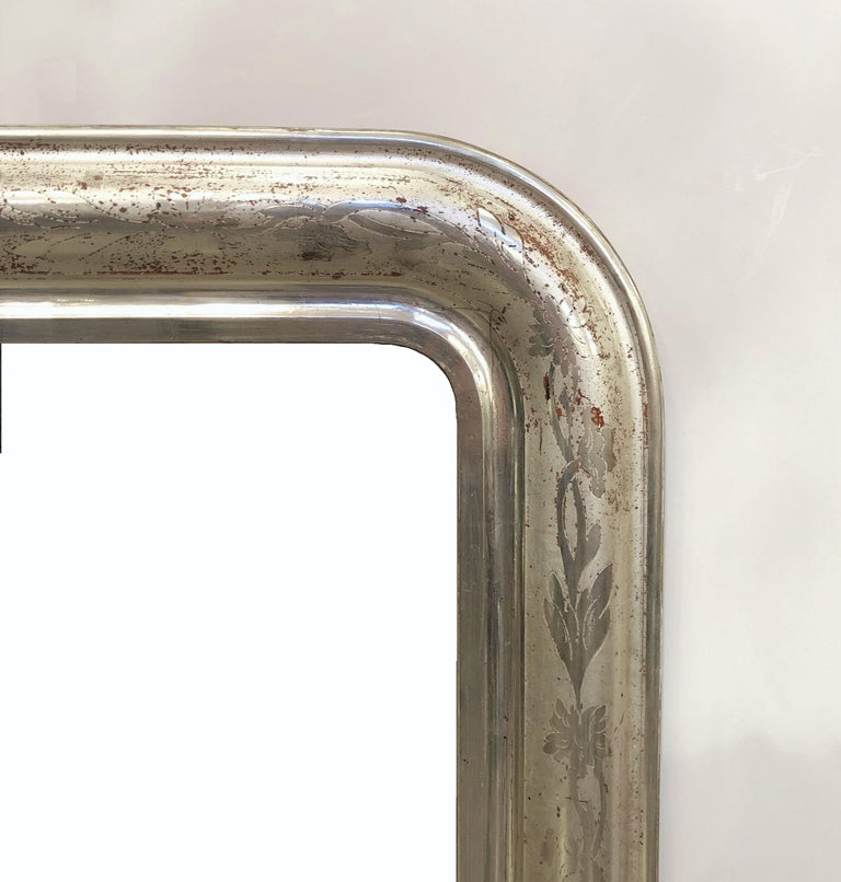 Glass Louis Philippe Silver Gilt Mirror For Sale