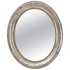 Louis Philippe Silver Gilt Oval Framed Mirror