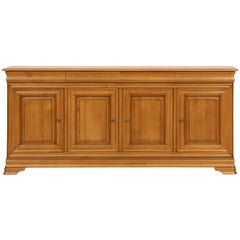 Louis Philippe Style 4 Doors Sideboard in Oak, 100% made in France