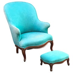 Louis Philippe Style Armchair and Footrest, circa 1930/1950