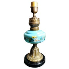 Louis Philippe Style French Opaline Blue Glass Lamp Decorated and Golden Brass