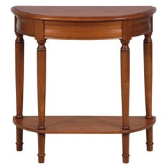 Louis Philippe Style Half-Moon Console Table in Cherry, Secret drawer, Shelf