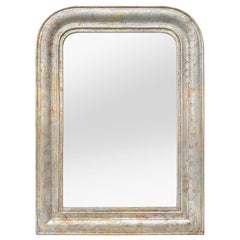 Louis-Philippe Style Mirror, Silverwood and Ocher Colors, circa 1890