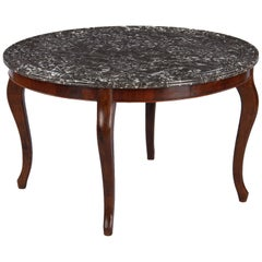 Louis Philippe Style Rosewood and Marble-Top Coffee Table, France, Early 1900s