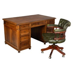 Louis Philippe Style Walnut Partners Desk and Chair Set
