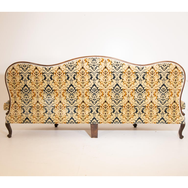 Louis Philippe Three-Seat Sofa, Walnut, Italy, 19th Century For Sale 2