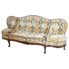 Louis Philippe Three-Seat Sofa, Walnut, Italy, 19th Century
