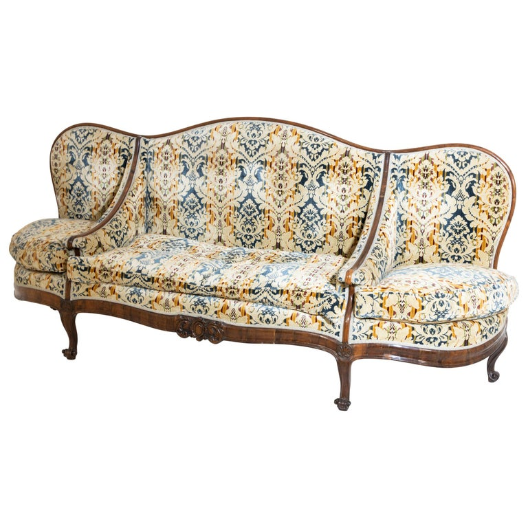 Louis Philippe Three-Seat Sofa, Walnut, Italy, 19th Century For Sale