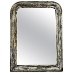 Louis Philippe Wall Mirror in Parcel Silver, White and Grey Patina
