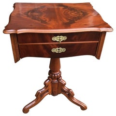Louis Philippe Walnut Sewing Table with Brass Fittings from Paris