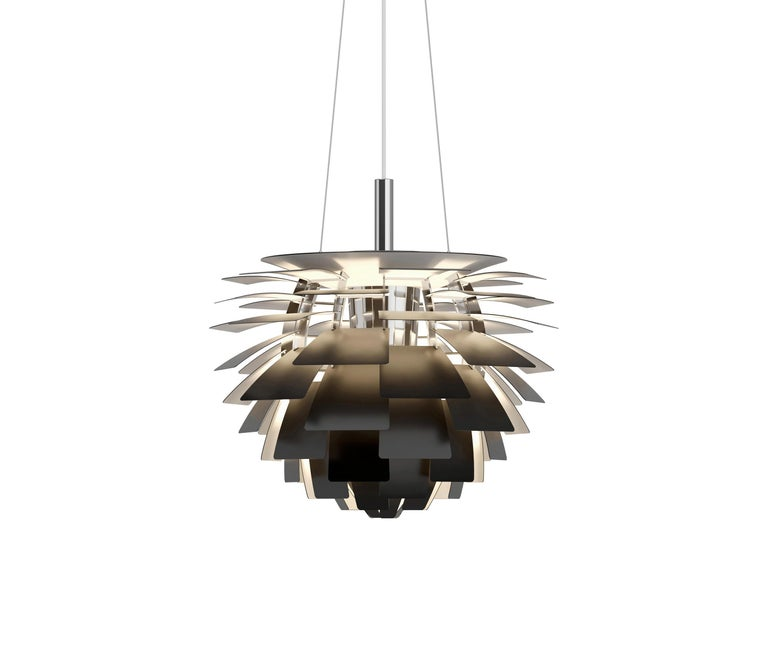 Louis Poulsen, extra large Artichoke chandelier by Poul Henningsen. Measures: Width 840 x height 720 x length 840 (mm), 25.2 kg  Material: Leaves: brass, stainless steel polished, cooper, white lacquered steel, brushed steel or black, powder
