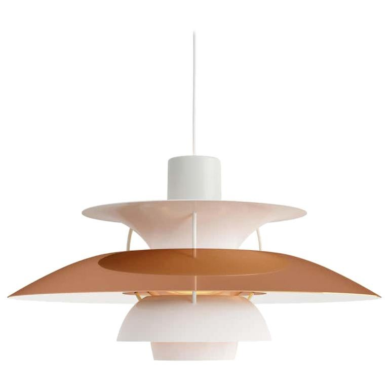 Louis Poulsen, extra large metal pendant light by Poul Henningsen. Measures: Width x height x length (mm) 500 x 267 x 500, 1.8 kg Material: Polished copper or brass and white matte lacquered aluminum. Struts: white, rolled aluminum. Canopy: Yes,