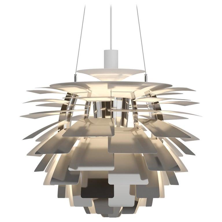 For Sale: Silver (stainless steel polish.jpg) Louis Poulsen Extra Large PH Artichoke Pendant Light by Poul Henningsen