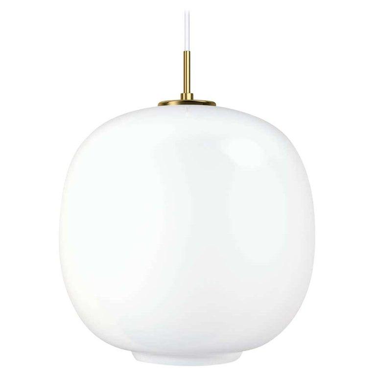 Louis Poulsen, round glass pendant light by Vilhelm Lauritzen. Measures: Small width 175 x height 246 x length 175 (mm), 1.3 kg, price - 530euro Medium width 250 x height 328 x length 250 (mm), 2.0 kg, price - 635 euro Large width x height x length