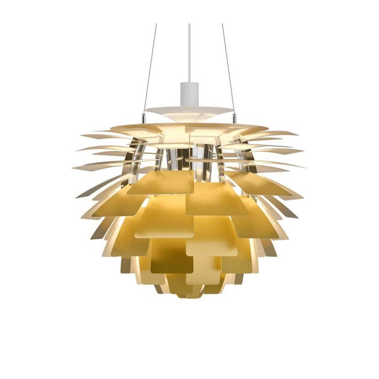 Louis Poulsen, large Artichoke chandelier by Poul Henningsen. Width x Height x Length (mm) 720 x 650 x 720, 17.3 kg Material: Leaves: Brass, stainless steel polished, cooper, white lacquered steel, brushed steel or black, powder coated steel with