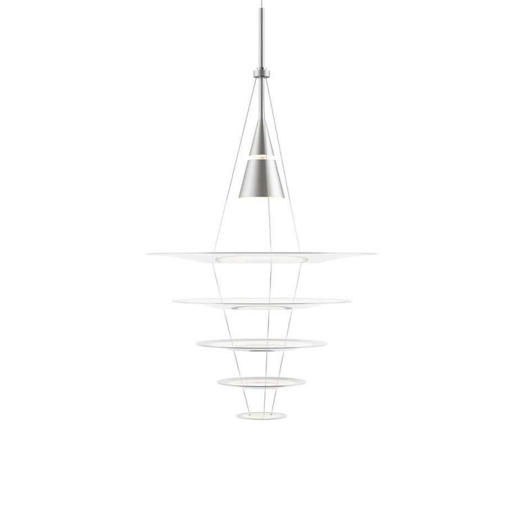 Louis Poulsen medium pendant lamp by Shoichi Uchiyama. Measures: Width x height x length (mm) 545 x 970 x 545, 1.8 kg Material: Lacquered or wet painted brushed aluminum, stainless steel, acrylic.