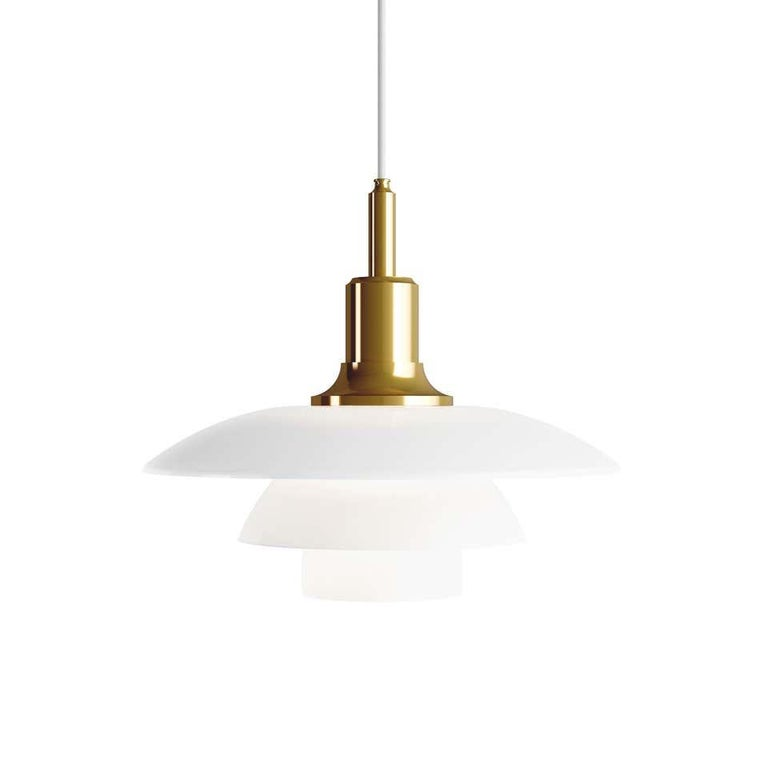 Louis Poulsen, medium pendant light by Poul Henningsen. Width x Height x Length (mm) 330 x 307 x 330, 1,9 kg Material: Shade: Mouth-blown white opal glass Suspension unit: Brass metallised, brass. Canopy: Yes. Cord length: 3 m.