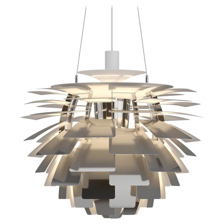 For Sale: Silver (stainless steel polish.jpg) Louis Poulsen Medium PH Artichoke Pendant Light by Poul Henningsen