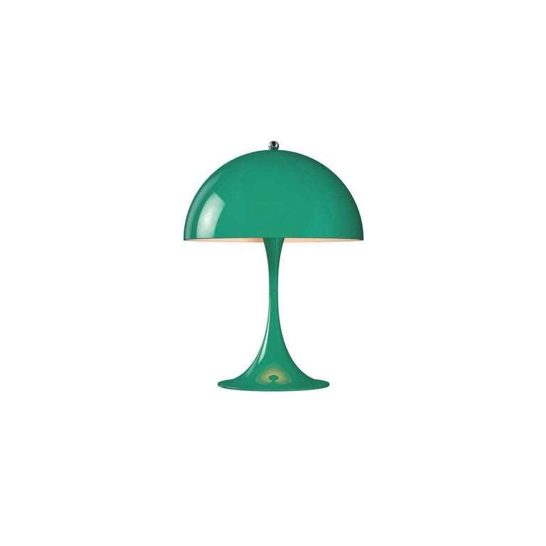 Louis Poulsen, table color lamp by Verner Panton Width x Height x Length (mm) 250 x 335 x 250, 1.2 kg Surface: acrylic Material: Shade: Vacuum formed opal acrylic. Base: Aluminium. Cord length: 2.5 m Switch: On the cord with stepless dimming