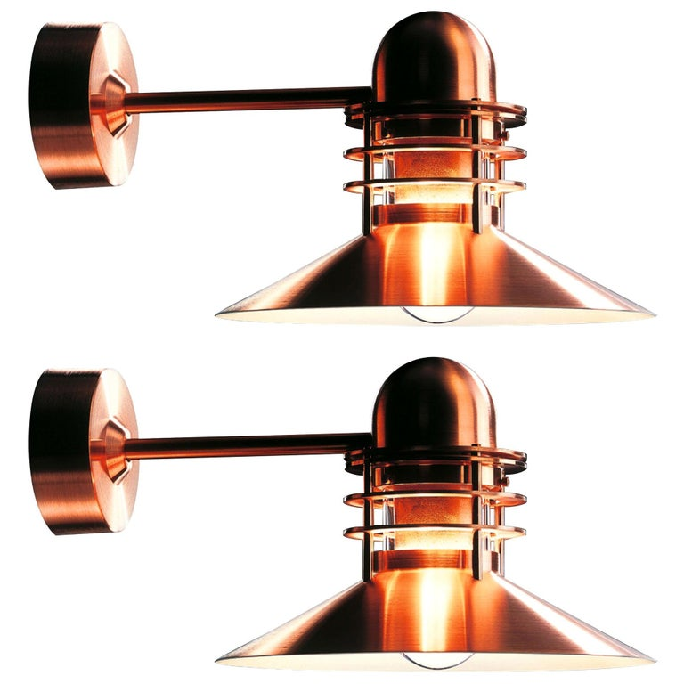 Louis Poulsen 'Nyhavn' Copper Outdoor Wall Sconce For Sale