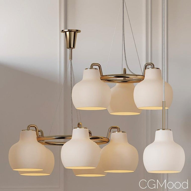 Louis Poulsen, pendant 5-light by Vilhelm Lauritzen Measures: Width x height x length (mm) 690 x 233 x 690, 8.4 kg 5 shades. Material: Shades: Mouth-blown, 3-layered, polished opal glass. Frame and canopy: Satin polished brass, untreated. Please