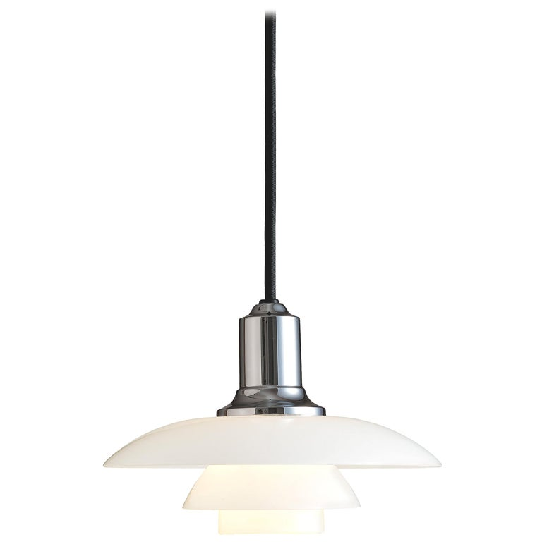 For Sale: Silver (chrome.jpg) Louis Poulsen PH 2/1 Pendant Light by Poul Henningsen