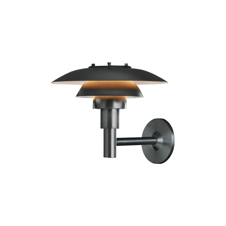 Louis Poulsen PH 3-2½ Bollard Outdoor Wall Lamp in Black by Poul Henningsen For Sale
