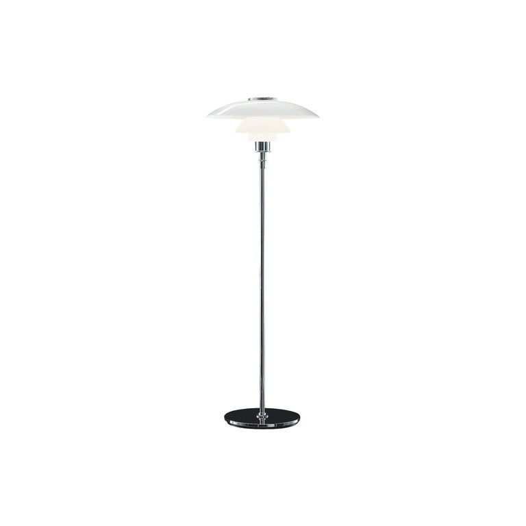 Louis Poulsen PH 4½-3½ Glass Floor Lamp in Chrome by Poul Henningsen For Sale