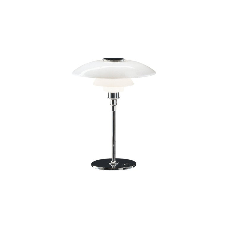 Louis Poulsen PH 4½-3½ Glass Table Lamp in Chrome by Poul Henningsen For Sale