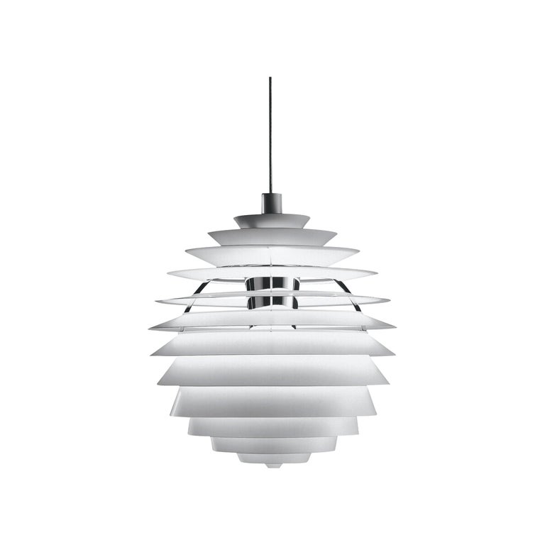 Louis Poulsen PH Louvre Pendant in White by Poul Henningsen For Sale