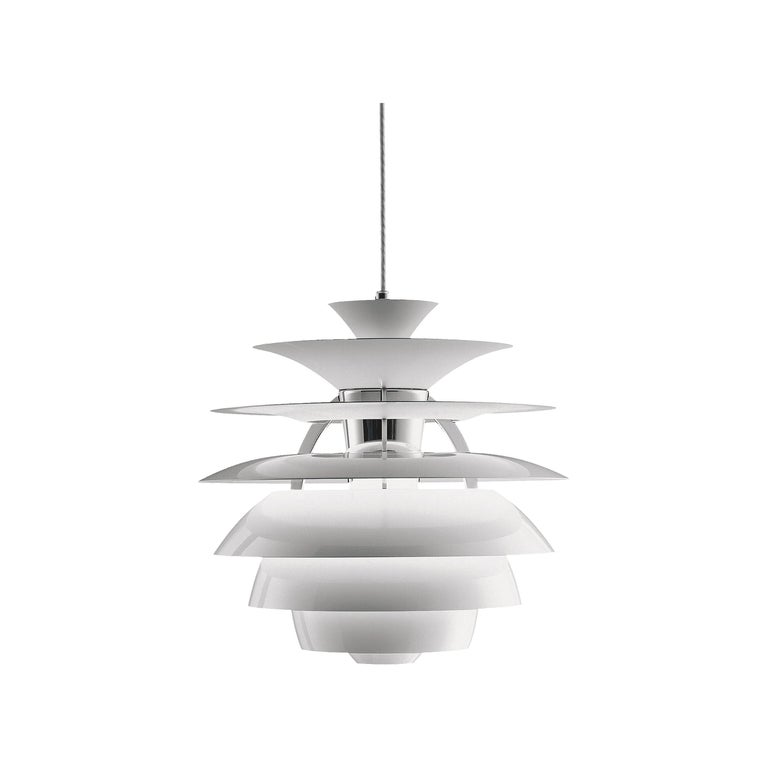 Louis Poulsen PH Snowball Pendant in White by Poul Henningsen For Sale