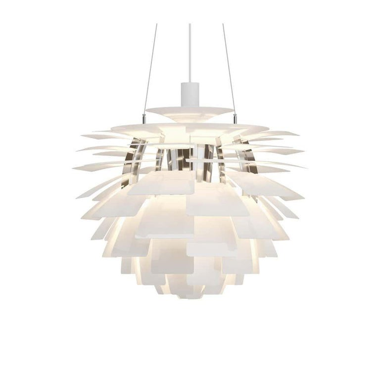Louis Poulsen, small Artichoke chandelier by Poul Henningsen. Measures: Width 480 x Height 465 x Length 480 (mm), 8.6 kg  Material: Leaves: brass, stainless steel polished, cooper, white lacquered steel, brushed steel or black, powder coated