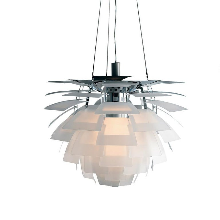 Louis Poulsen, small glass Artichoke chandelier by Poul Henningsen. Measures: Width 480 x height 570 x length 480(mm), 10.9 kg  Material: Leaves: clear glass, sandblasted. Frame: bright chrome plated steel. Canopy: yes cord length: 4 m cord type: