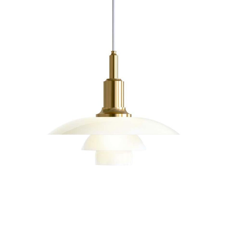 Louis Poulsen, small pendant light by Poul Henningsen. Size: Width x Height x Length (mm) 290 x 240 x 290 Material: Shades in mouth-blown white opal glass with the suspension unit in brass metallized aluminum. Canopy: Yes. Cord length: 3 m.