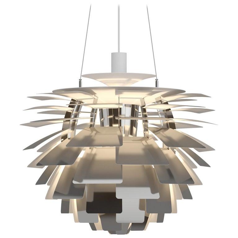 For Sale: Silver (stainless steel polish.jpg) Louis Poulsen Small PH Artichoke Pendant Light by Poul Henningsen