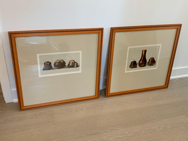 Two Framed Color Lithographs by Louis Prang Colors are neutral and subject matter is of Oriental Ceramic Art, Illustration from the collection of W.T Walters