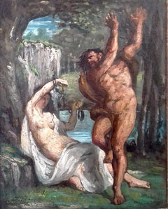 Nymph and Satyr, handcuffs! French 19th Century mythological scene in landscape