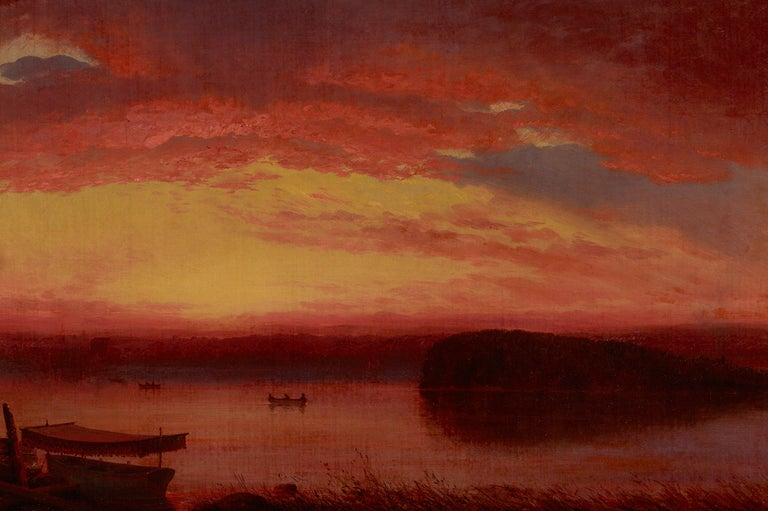 Sunset on Lake George - Hudson River School Painting by Louis Rémy Mignot