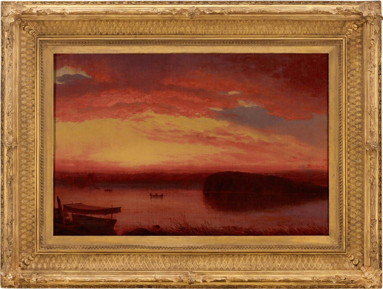 Sunset on Lake George - Brown Landscape Painting by Louis Rémy Mignot