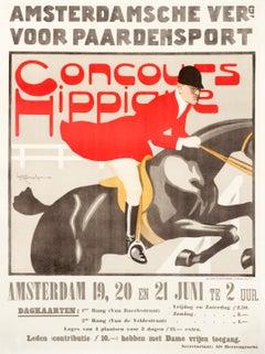 """""""Concours Hippique"""" Original Vintage Horse Show Poster 1910s"""