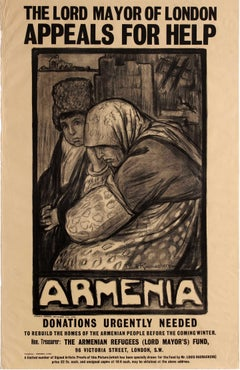 Original Antique WWI Poster Lord Mayor Of London Appeals For Help Armenia Winter