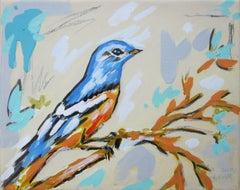 """Blue Bird,"" Acrylic Painting"