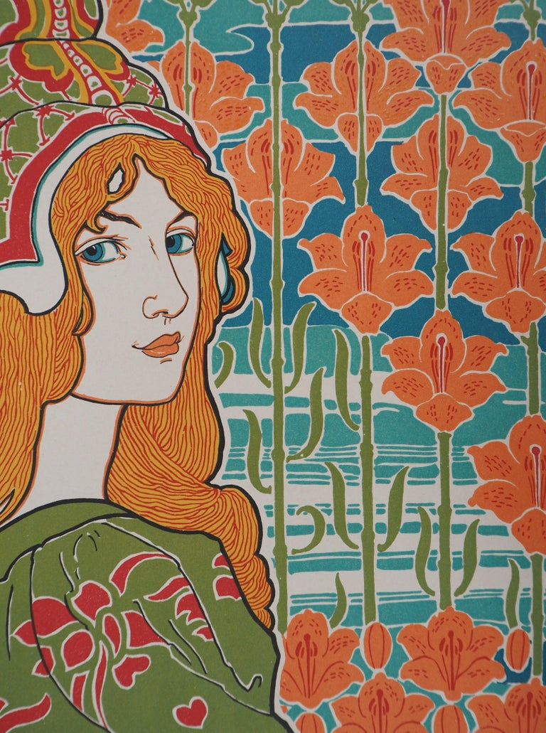 Jane - original lithograph (1897/98) - Art Nouveau Print by Louis Rhead