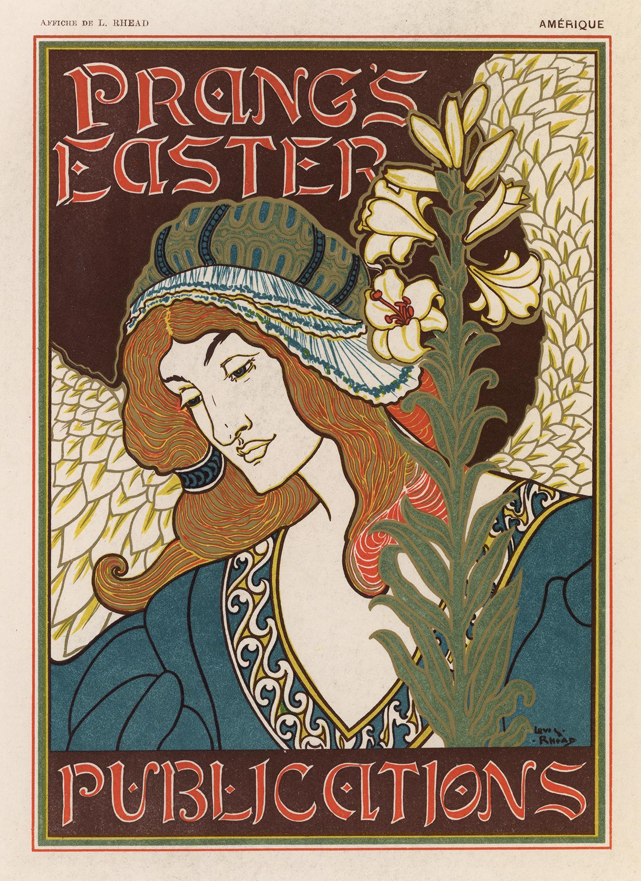 Prang's Easter by Louis Rhead, Art Nouveau Japon lithograph, edition of 25, 1897