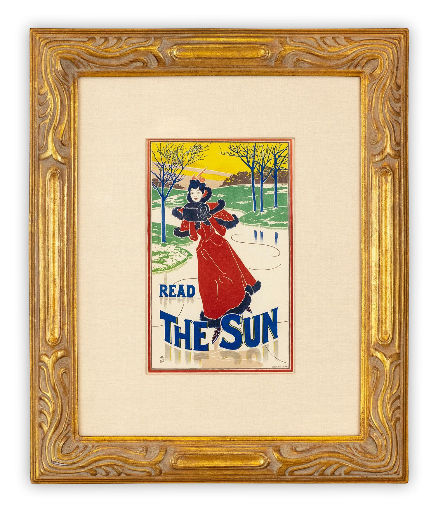 Read the Sun by Louis Rhead, Art Nouveau Japon lithograph, 1897