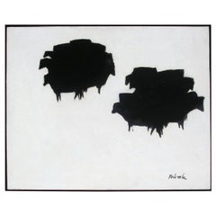 Louis Ribak New Mexico Modernist Abstract Painting, Black Angus