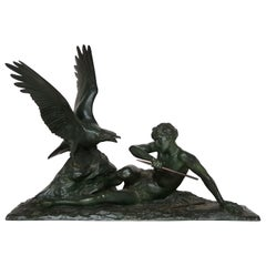 "Louis Riche, Bronze Sculpture ""Ganymed and Zeus"", circa 1920"