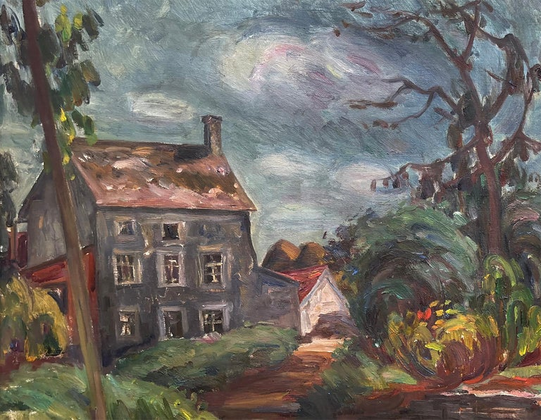 The Gray House - Post-Impressionist Painting by Louis Ritman