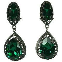 Louis Rousselet Faux Emerald Georgian Revival Earclips